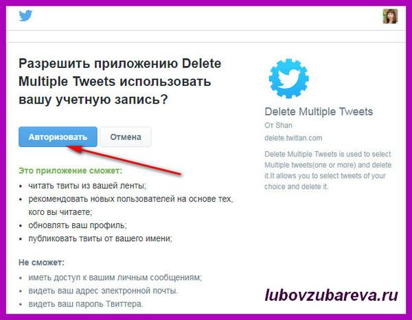 Delete Multiple Tweets приложение доступ