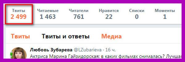 моя страница твиттер