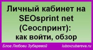 кабинет на SEOsprint net Сеоспринт как войти обзор