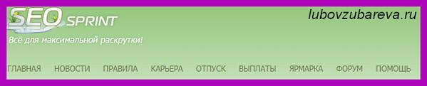 сеоспринт меню сайта